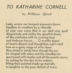To Katharine Cornell
