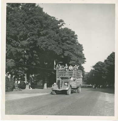Students Riding in a Truck