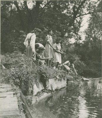 Students at a Pond