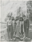 Students in Front of Waterfall