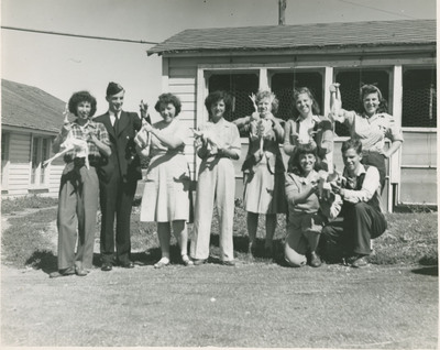 Students Holding Plucked Chickens