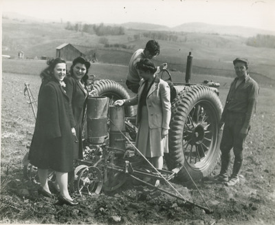 Students Posing With Tractor