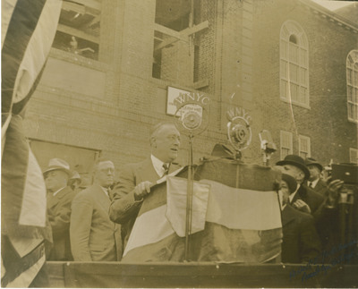 Photograph of President Franklin Roosevelt speaking at Brooklyn College Cornerstone Laying