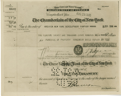 Photo of Balance of Check ($221,800) for Purchase of Property