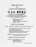 English Only Vs. Language Freedom Conference Flyer by Hostos Community College